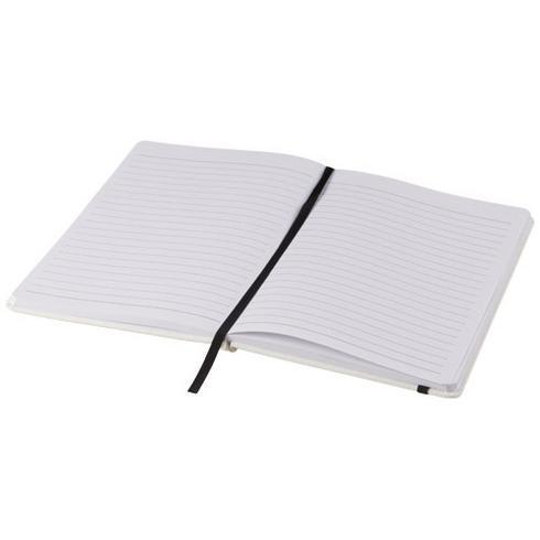 Spectrum weißes A5 Notizbuch mit farbigem Gummiband