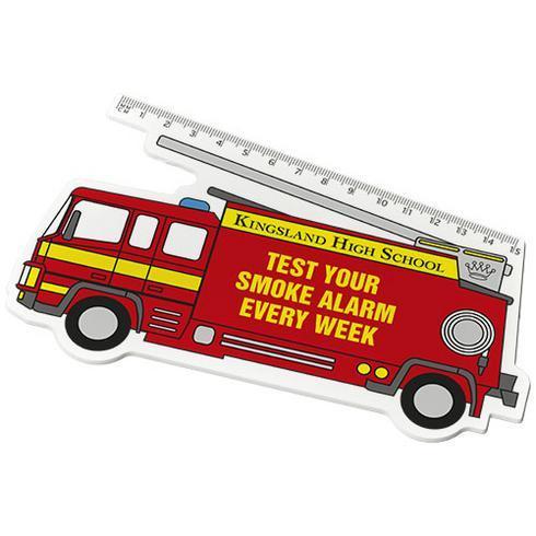 Walker 15 cm Plastiklineal in Form eines Feuerwehrautos