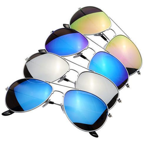 Aviator solbriller med farvede spejlede glas