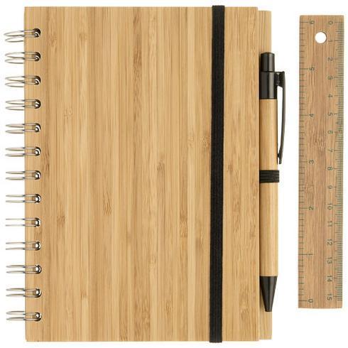 Franklin B6 bambusnotesbog med kuglepen og lineal