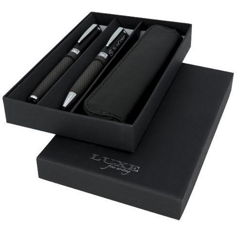 Parure de stylos bille et roller avec étui Carbon
