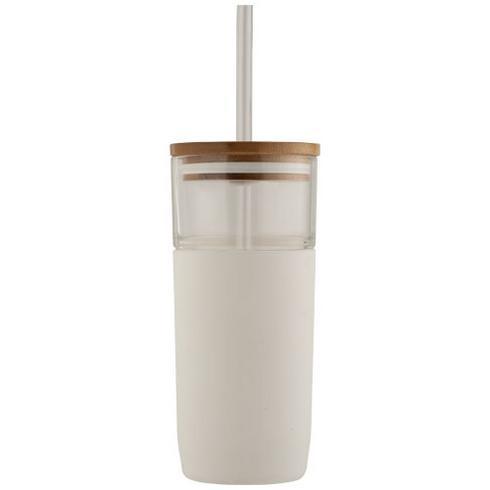 Arlo 600 ml glass tumbler with bamboo lid