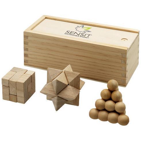 Brainiac 3-piece wooden brain teaser set
