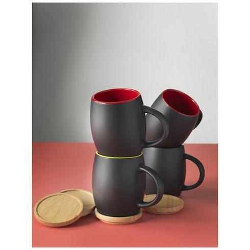 Hearth 400 ml ceramic mug with wooden coaster