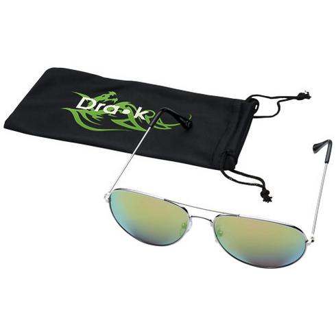 Aviator sunglasses with coloured mirrored lenses