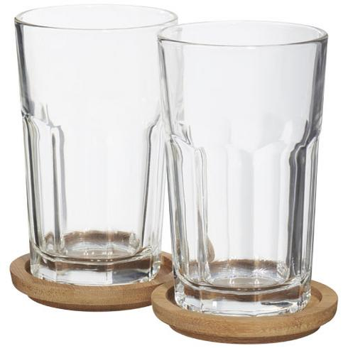 Linden 2-piece glass set with coaster