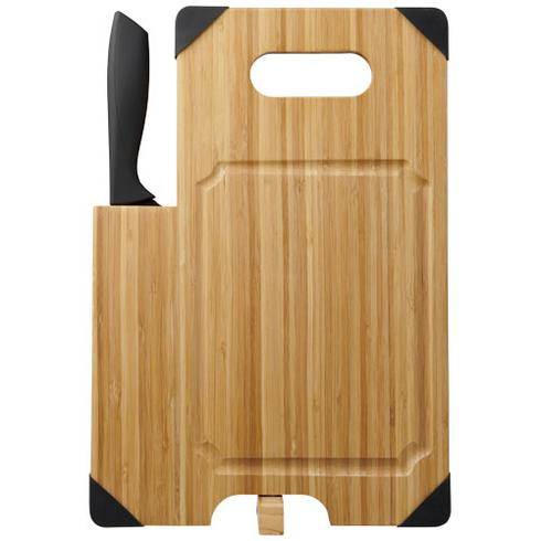 Avery bamboo cutting board with knife