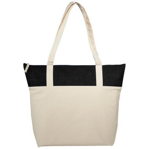 Jones 320 g/m² zippered cotton and jute tote bag