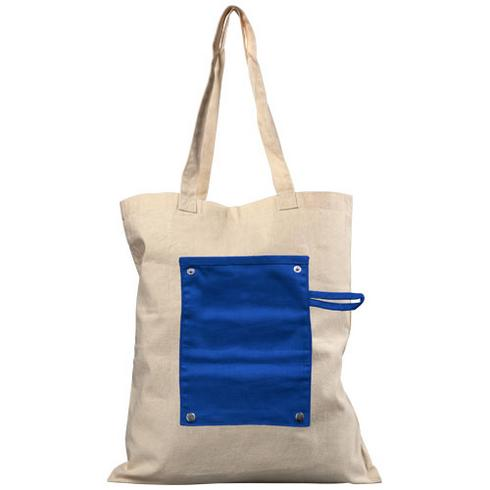 Snap 180 g/m² roll-up buttoned cotton tote bag