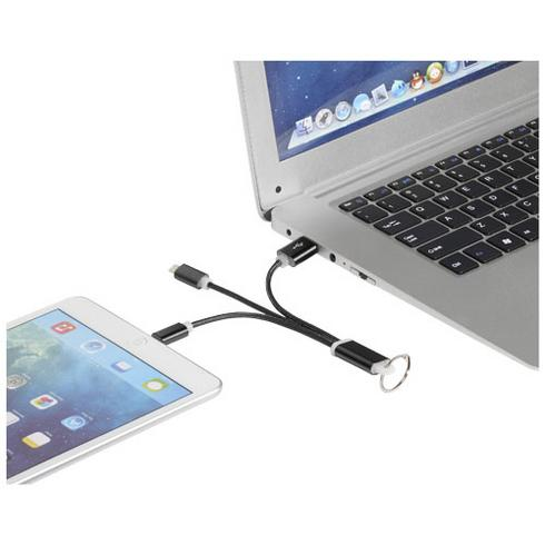 Metal 3-in-1 charging cable with keychain
