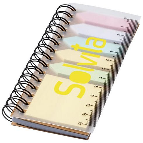 Spinner notitieboek met gekleurde sticky notes