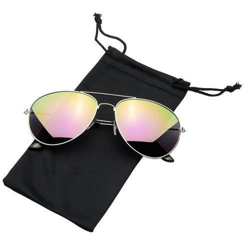 Aviator-solbriller med farget, speilet glass