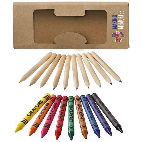 Lucky sett med blyanter og fargekritt med 19 deler
