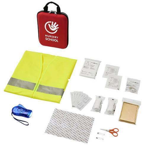 Handies førstehjelpssett og sikkerhetsvest med 46 deler