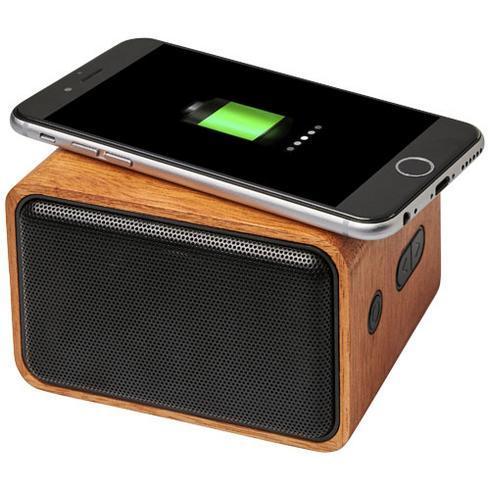 Wooden högtalare med trådlös laddningsplatta