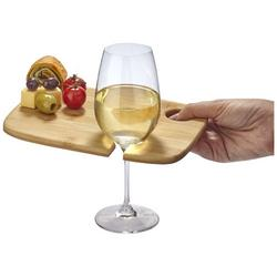 Mill Vorspeisenplatte aus Holz mit Weinglashalterung