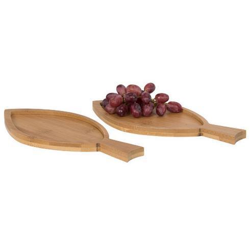 Anna bambus amuse-sæt formet som fisk, med 2 dele