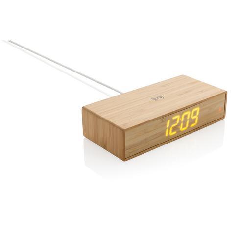 Herätyskello ja 5W langaton laturi bambusta