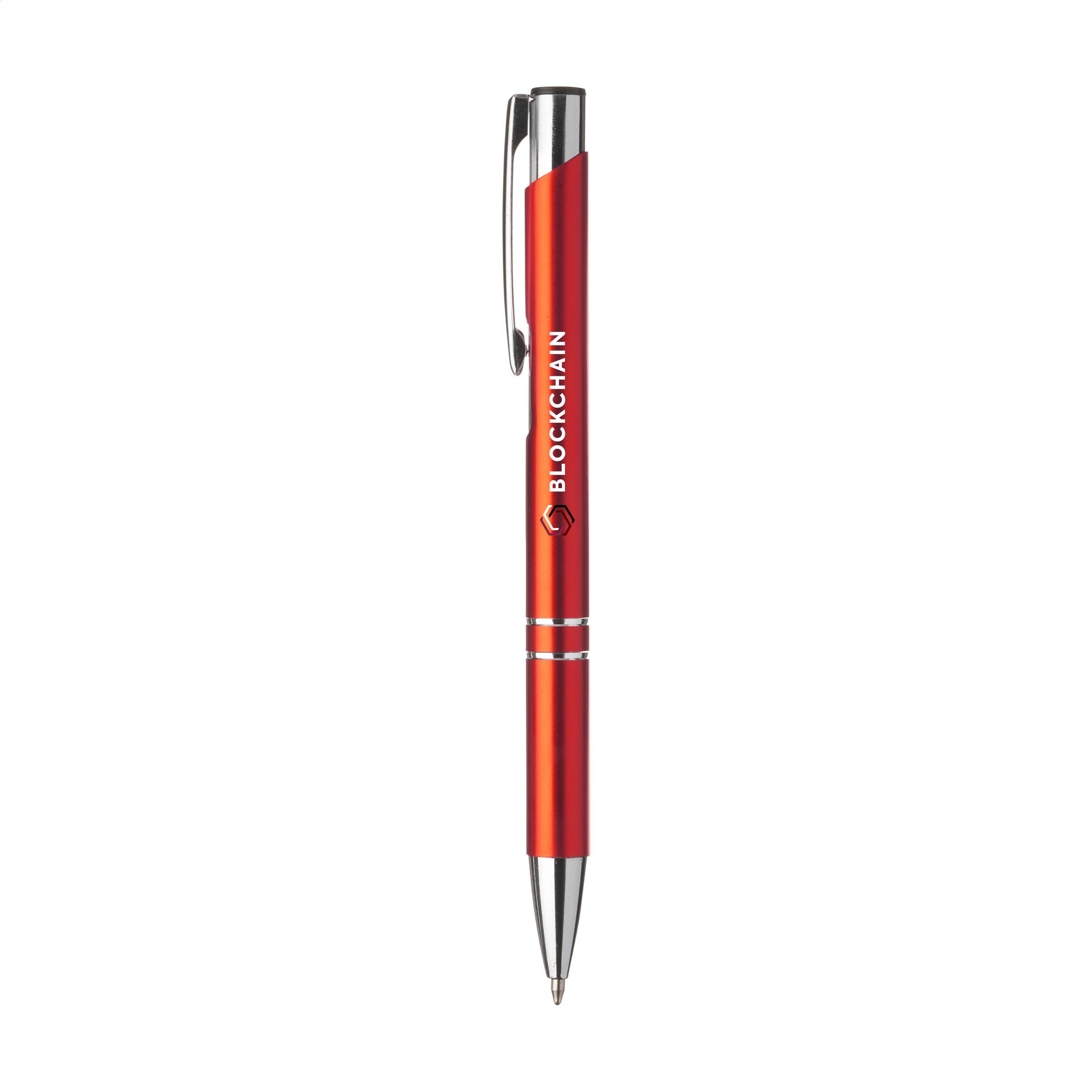 Bolígrafo de alta calidad de color azul disponible en Helloprint para personalizar con logo o imagen.