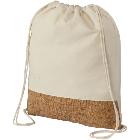 Woods cotton and cork bottom drawstring backpack