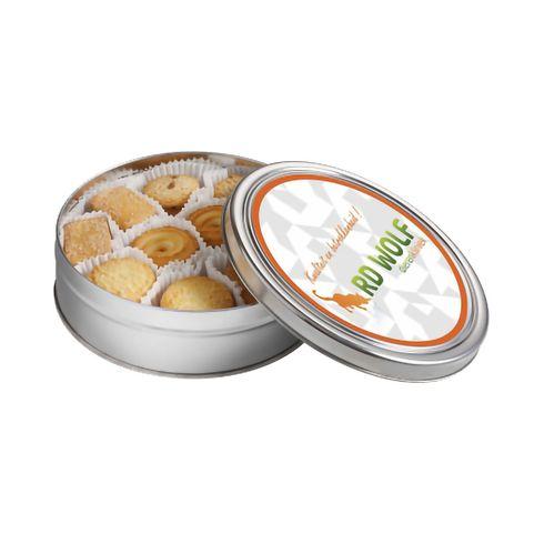 Plat rond blik koekjes