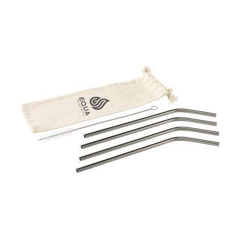 Reusable 4 pieces ECO Straw Set Strohalme aus Edelstahl