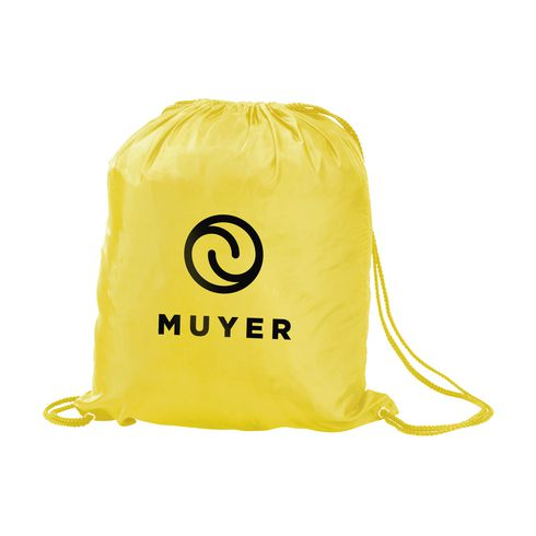 Water resistant drawstring bag with logo
