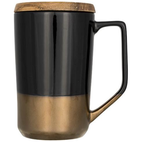 Tahoe 470 ml keramische thee of koffiemok met houten deksel