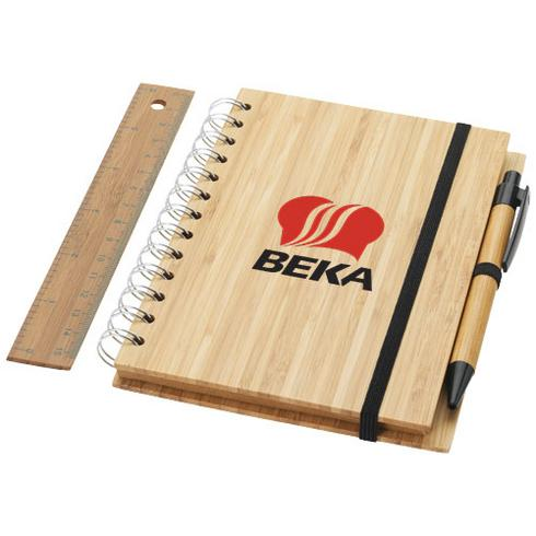 Franklin B6 bamboo notebook with pen and ruler