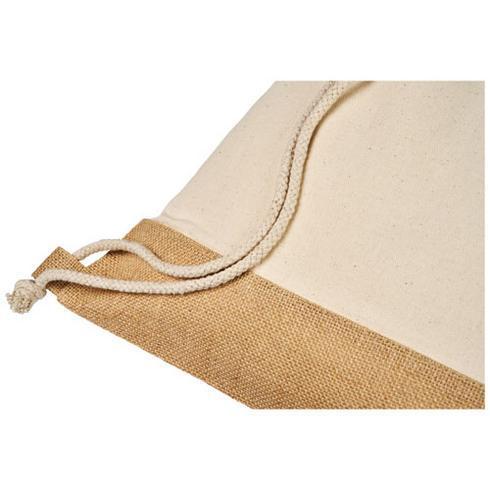 Sac à dos en jute de coton Delhi avec cordon de serrage