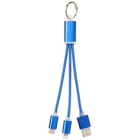 Metal 3-i-1 opladerkabel i metal med nøglering