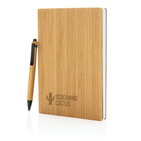 Set carnets de notes A5 et stylo en bambou